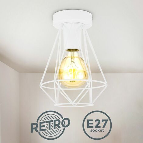 B.K.Licht I Lámpara de techo de alambre I 1-flame I E27 I Vintage I 165 mm de diámetro I Blanco I sin bombilla