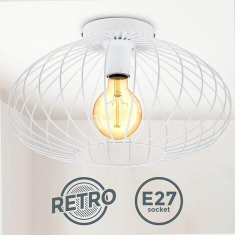 B.K.Licht I Lámpara de techo de alambre I 40 cm de diámetro I E27 I Lámpara vintage de 1 bombilla con pantalla metálica I Blanca I sin bombilla