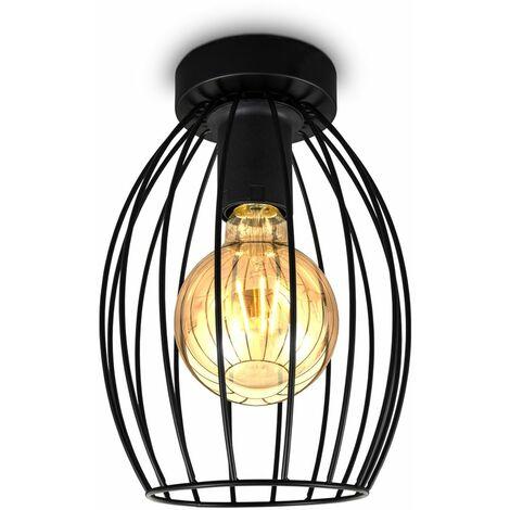 B.K.Licht I Lámpara de techo de alambre I E27 I Lámpara de techo vintage de 1 quemador con pantalla metálica I altura 25,6 cm I negro I sin bombilla