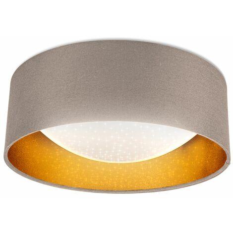 B.K.Licht I Lámpara de techo de tela LED con efecto de cielo estrellado I oro topo I Tablero de LED de 12W I 1.200lm I 4.000K color de luz blanca neutra I lámpara de tela I Ø32cm
