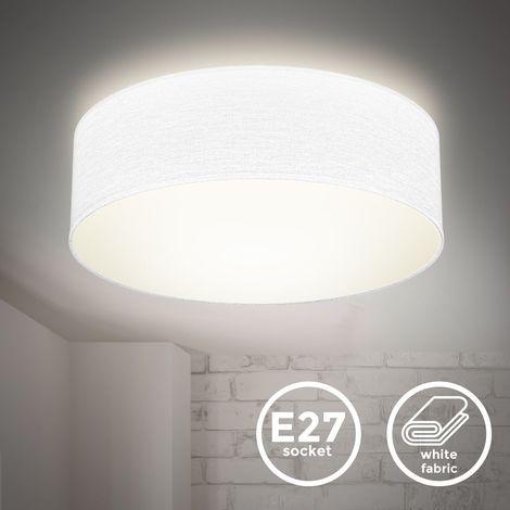 B.K.Licht I Lámpara de techo I Lámpara de techo de tela I Lámpara de oficina I Pantalla textil I E27 I 1 llama I Ø30cm I Blanco I sin bombilla