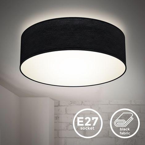 B.K.Licht I Lámpara de techo I Lámpara de techo de tela I Lámpara de oficina I Pantalla textil I E27 I 1 llama I Ø30cm I Negro I sin bombilla