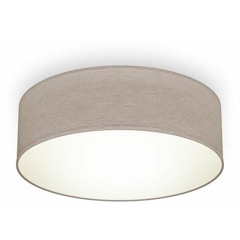 B.K.Licht I lámpara de techo I lámpara de techo de tela I lámpara de oficina I pantalla textil I E27 I 1 llama I Ø30cm I topo I sin bombilla