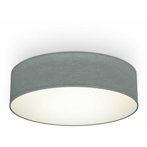 B.K.Licht I lámpara de techo I lámpara de techo de tela I lámpara de oficina I pantalla textil I E27 I 2-flame I Ø38cm I gris I sin bombilla