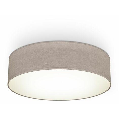 B.K.Licht I lámpara de techo I lámpara de techo de tela I lámpara de oficina I pantalla textil I E27 I 2-flame I Ø38cm I taupe I sin bombilla