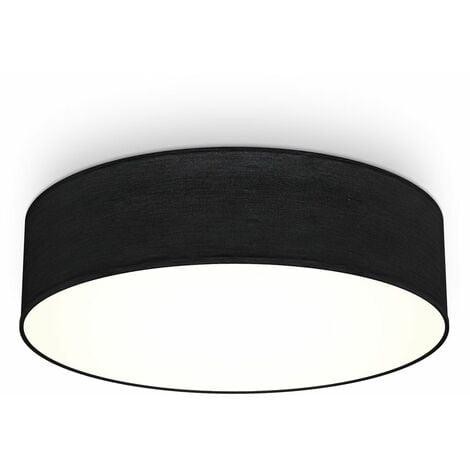 B.K.Licht I lámpara de techo I lámpara de techo de tela I lámpara de techo I lámpara de oficina I pantalla textil I E27 I 2-flame I Ø38cm I negro I sin bombilla