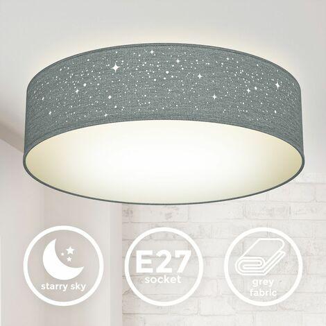 B.K.Licht I lámpara de techo I lámpara de techo de tela redonda I lámpara de estrella I lámpara de dormitorio I pantalla textil I E27 I 2-flame I Ø38cm I gris I sin bombilla