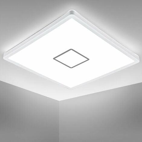 B.K.Licht I Lámpara de techo LED I Lámpara de techo I Lámpara de pared I 18 Watt I 2.400 Lumen I blanco neutro 4.000K I blanco-plata I I ultraplano 2,8cm I cuadrado 29x29cm