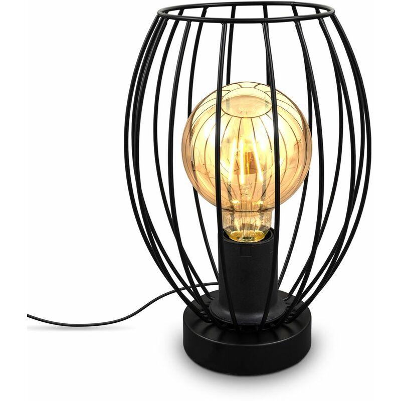 I Lampe de table à fil I E27 I Interrupteur à câble I Lampe de table ancienne à 1 brûleur avec abat-jour métallique I Hauteur 25,6 cm I Noir I sans