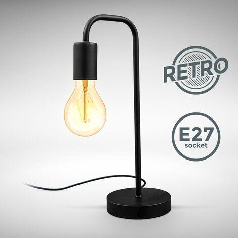 """main image of """"B.K.Licht I Lampe de table rétro, lampe de lecture en forme de lampadaire courbé, métal noir mat, douille E27, câble avec interrupteur, lampe de chevet vintage 130x380mm"""""""