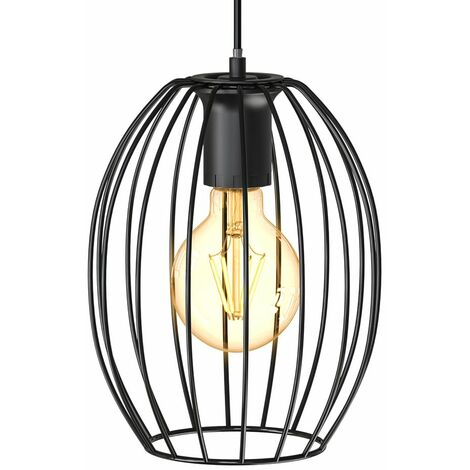 B.K.Licht I Lampe suspendue en fil de fer I diamètre 17,5 cm I E27 I Lampe ancienne à 1 ampoule avec abat-jour en métal I longueur 115 cm I noir I sans ampoule