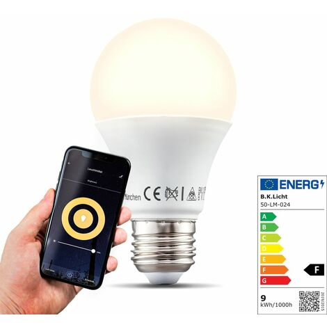 B.K.Licht I LED E27 Wi-Fi Lamp I 9 vatios I 806 Lumen I 2.700K Blanco cálido I Regulable I Aplicación Control de voz I Alexa Google Home I iOS y Android I Bombilla WiFi Bombilla inteligente