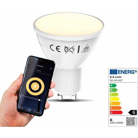 B.K.Licht I LED GU10 Wi-Fi Lamp I 5.5 vatios I 350 Lumen I 2.700K Blanco cálido I Regulable I Aplicación Control de voz Alexa Google Home I iOS y Android I Bombilla WLAN I Bombilla inteligente
