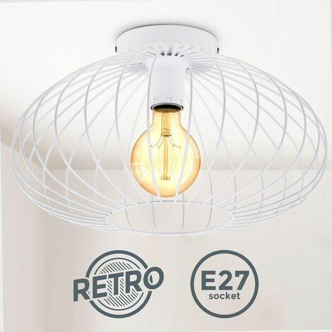 B.K.Licht I Plafonnier en fil de fer I 40 cm de diamètre I E27 I Lampe ancienne à 1 ampoule avec abat-jour métallique I Blanc I sans ampoule