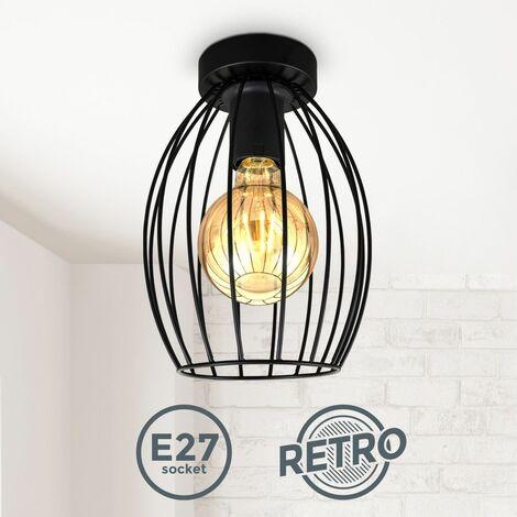 B.K.Licht I Plafonnier en fil de fer I E27 I Plafonnier vintage à 1 brûleur avec abat-jour métallique I hauteur 25,6 cm I noir I sans ampoule
