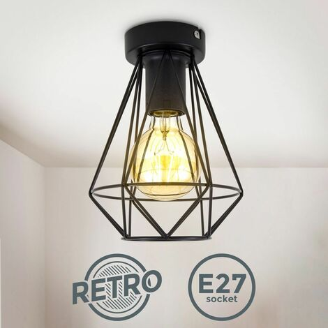 B.K.Licht I Plafonnier en fil métallique I 1-flamme I E27 I Vintage I 165 mm de diamètre I noir I sans ampoule