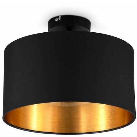 B.K.Licht I Plafonnier en tissu noir-or I 1-flamme I E27 I Ø30 cm I Sans ampoule