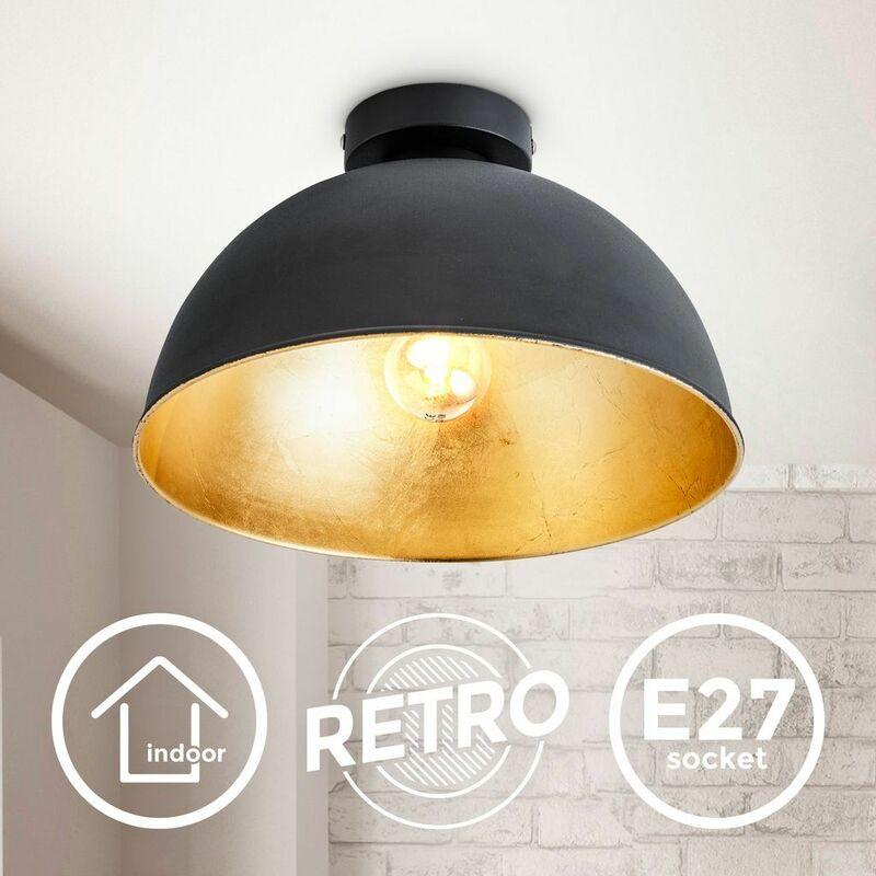 B.K.Licht I Plafonnier Retro I Plafonnier Vintage I 31cm I Black-Gold I sans ampoules E27 I Abat-jour doré