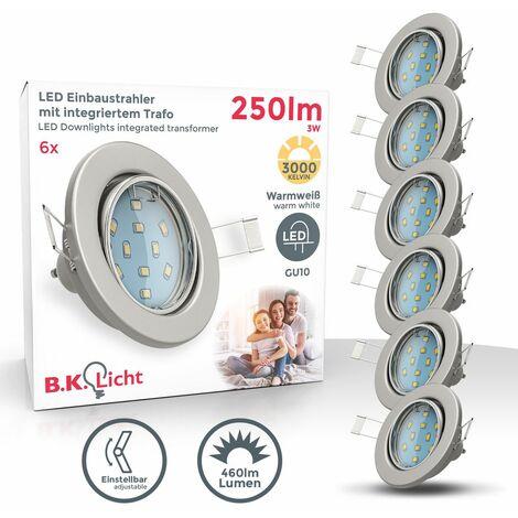 """main image of """"B.K.Licht I proyector LED giratorio empotrado I 3 pasos regulables mediante interruptor de pared I incl. bombilla de 6 x 5W I color de luz blanco cálido I 400lm I GU10 I IP23 I níquel mate"""""""