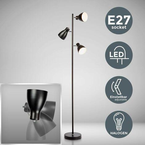 B.K.Licht Lámpara de pie diseño I 3 luces I Negro I Bombilla