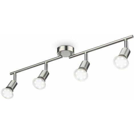 """main image of """"B.K.Licht - Lámpara de techo con 4 focos LED GU10, focos ajustables y giratorios para interiores, de luz blanca cálida, 3W y 250 lúmenes, 3000K, forma recta en barra, color níquel mate"""""""
