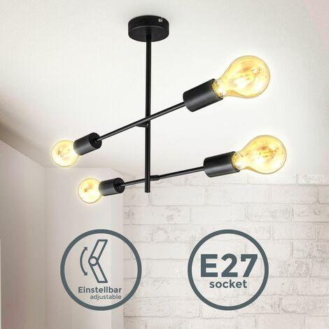 B.K.Licht lámpara de techo giratoria I Lámpara de techo retro I 4 llamas I E27 I metal I negro mate I sin bombilla max. 60Watt