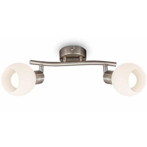 """main image of """"B.K.Licht lámpara de techo LED giratoria con pantalla de vidrio I color de luz blanco cálido I 2x 5W I 3.000 K I E14 I 2x 470lm I 2-flame"""""""