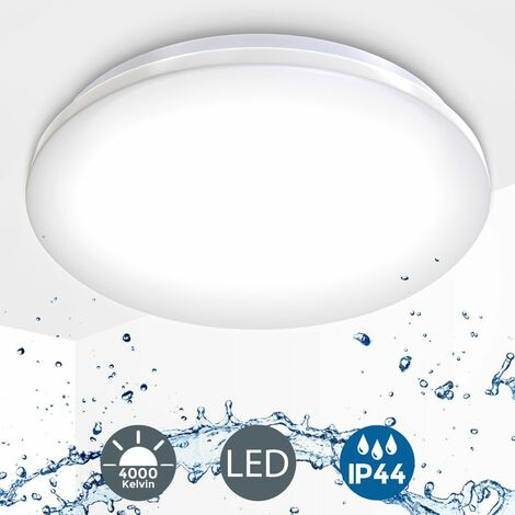 """main image of """"B.K.Licht Lámpara de techo moderna I Ecológico I Fácil montaje I LED Plafón Φ30 cm IP44 Impermeable I Blanco Natural 4000K, 1200LM I Luz para baño"""""""