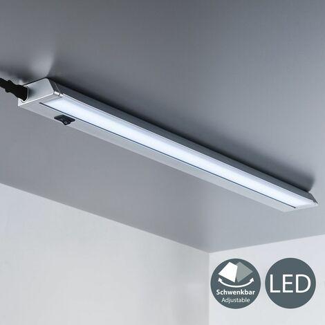 B.K.Licht - Lámpara fluorescente LED giratoria para armarios y cabinetes, de luz blanca neutra, iluminación bajo mueble con interruptor de luz, 8,5 W, 4000 K, 1000 lm color blanco o plateado:Silber/Grau (de)