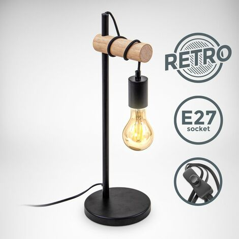 B.K.Licht lampe de chevet design rétro industriel bois & métal éclairage salon & chamber lampe à poser douille E27 noir
