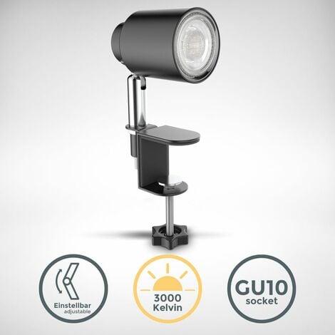B.K.Licht lampe de lecture LED, pivotante & inclinable, avec ampoule LED GU10 5W, 3000K, lampe à pince pour bureau & chevet, noir