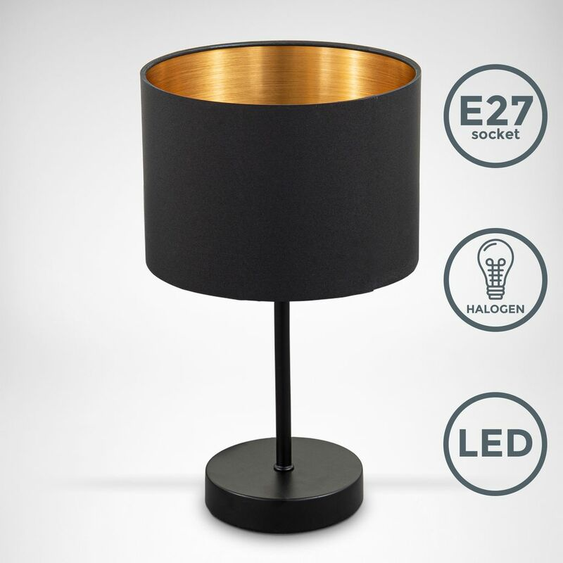 B.K.Licht lampe de table, abat-jour en tissu noir-or E27 Ø20cm interrupteur câble lampe de chevet