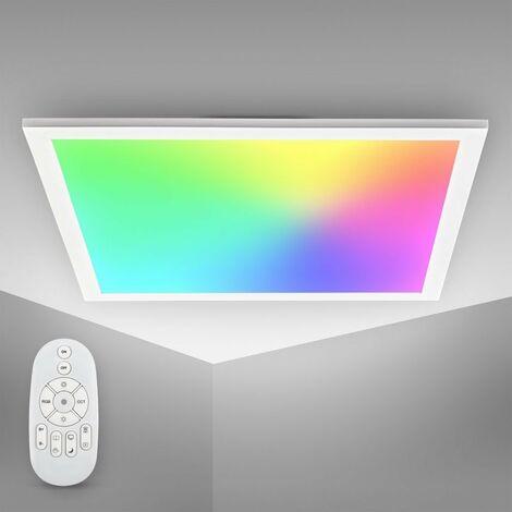 B.K.Licht LED Panel I Temperatura de color ajustable continuamente I 7 colores I Luz de techo ultra plana I Regulable I Mando a distancia I 450x450x42mm