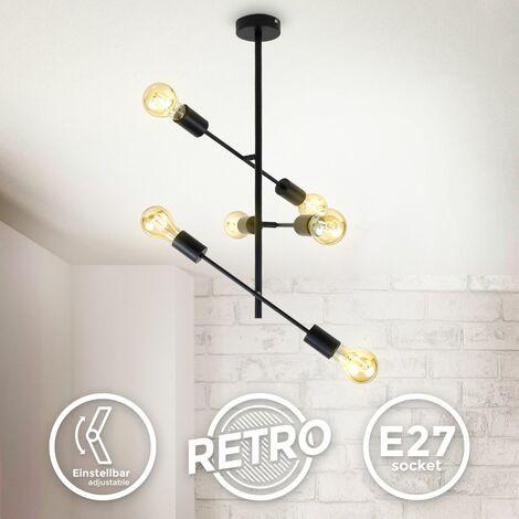 B.K.Licht luz de techo giratoria I Lámpara de techo retro I 6-flame I E27 I metal I negro mate I sin bombilla máx. 60W
