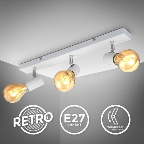 B.K.Licht plafonnier 3 spots orientables design vintage, style industriel en blanchemat pour salon, salle à manger, chambre, pour ampoules E27 max. 60W, livrée sans ampoules, largeur 48cm