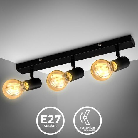 B.K.Licht plafonnier 3 spots orientables design vintage, style industriel en noir mat pour salon, salle à manger, chambre, pour ampoules E27 max. 60W, livrée sans ampoules, largeur 48cm