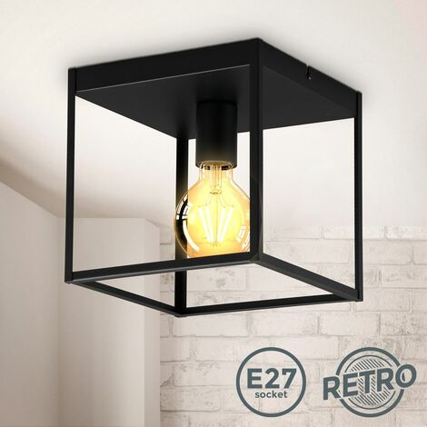 B.K.Licht plafonnier cage métal noir, pour ampoule E27 de max 60W, ampoule non incluse, éclairage plafond vintage entrée, couloir, chambres IP20