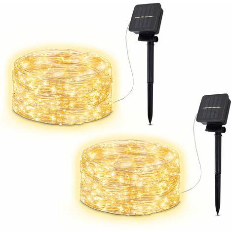 B.K.Licht set de 2 bandes LED pour l'extérieur I 2x 12 m I 8 modes d'éclairage I IP44 I 2x120 LEDs I blanc chaud I détecteur de crépuscule