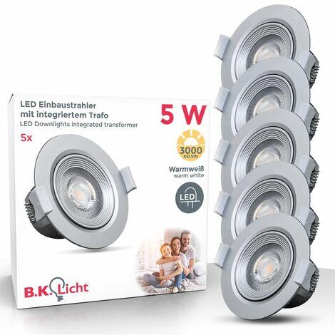 B.K.Licht - Set de 5 focos LED empotrables y orientables para interiores, downlight de luz blanca cálida, protección IP23, 5 W, 350 lúmenes, 3000K, color plateado/blanco:5 Stück (de), Grau (de)