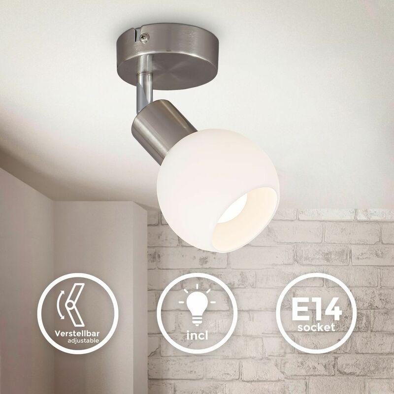B.K.Licht spot LED pivotant pour plafond avec abat-jour en verre I couleur de lumière blanche chaude I 5W I 3.000 K I E14 I 470lm I 1-flamme