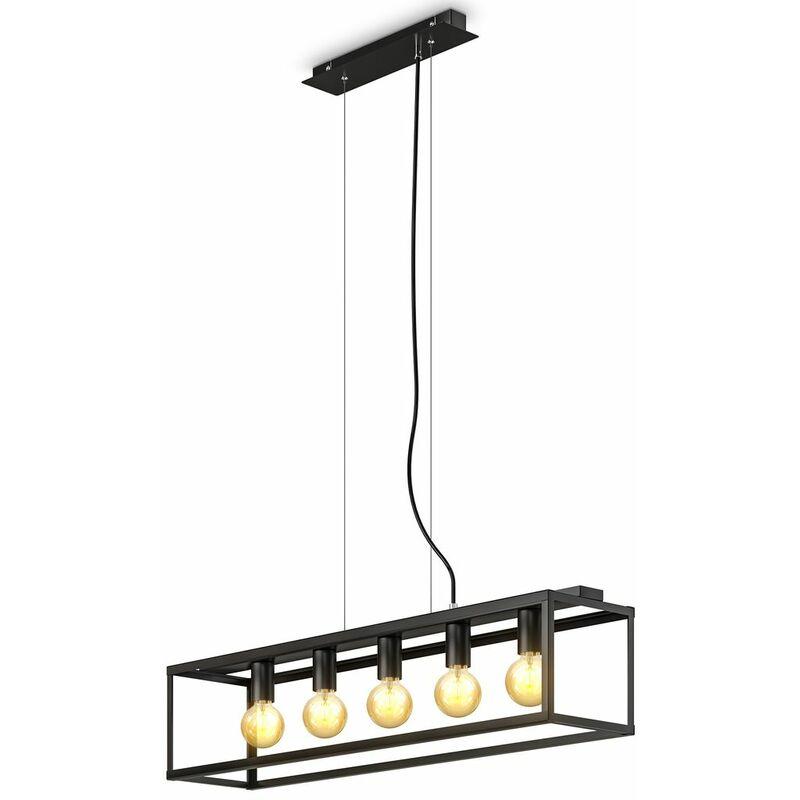 suspension cage avec 5 douilles E27, réglable en hauteur, lustre design industriel salle à manger en métal noir mat, éclairage salon cuisine rétro
