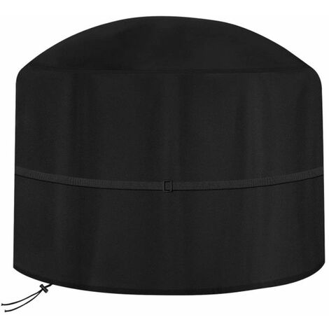 Black 122*46cm Round Waterproof Outdoor Garden Fire Pit Cover