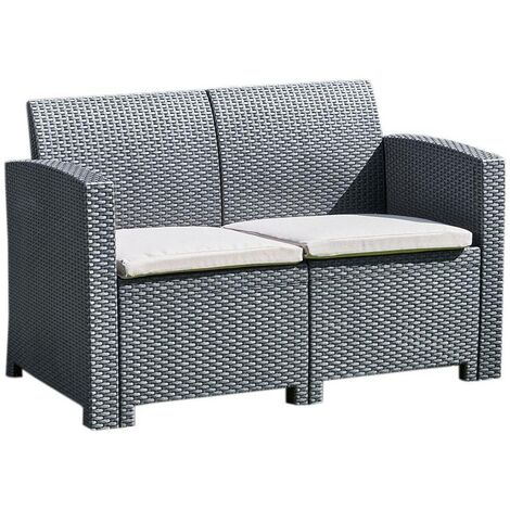 """main image of """"Black 2 Seater Rattan Effect Sofa - Outdoor Garden Furniture Patio Conservatory"""""""