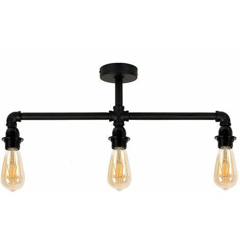 Black 3 Way Ceiling Light Bar - No Shade