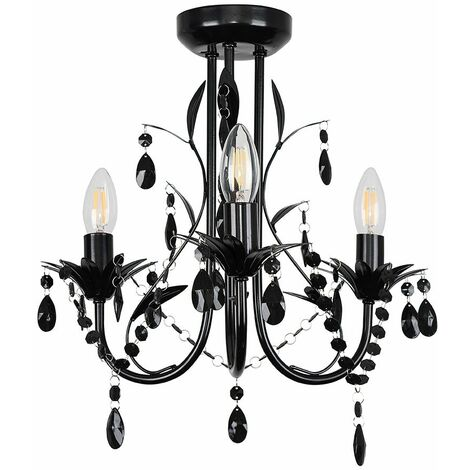 Black 3 Way Chandelier + Black Acrylic Jewel Beads + 3 x 4W LED Ses E14 Frosted Glass Candle Bulbs