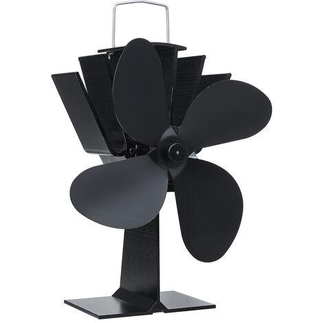 Black 4 Blades Heat Powered Stove Fan komin Log Wood Burner Eco Friendly Quiet Fan