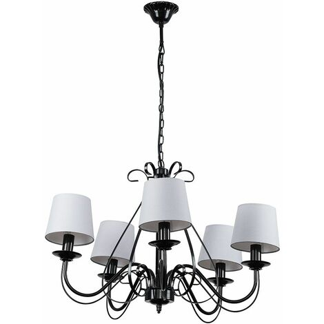 Black 5 Way Chandelier With Grey Shades + 4W LED Filament Candle Bulbs Warm White