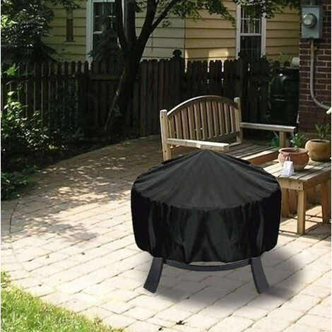 Black 85*40cm Round Waterproof Outdoor Garden Fire Pit Cover