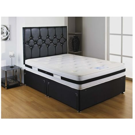 Black Airflow Sprung Memory Foam Divan bed With 2 Drawer One On Either Side Of Bottom Base And Headboard