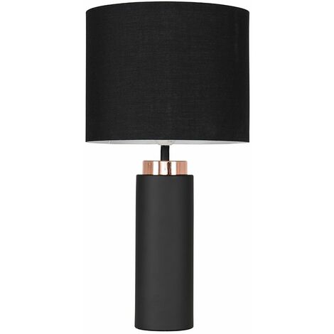 Black and Copper Table Lamp With Shade - Grey